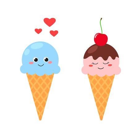 Cute cartoon ice cream in love vector illustration