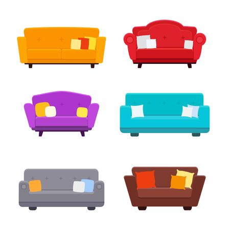 Couch flat icons with pillows vector illustration