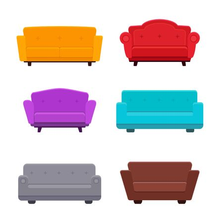 Sofa flat icons vector collection vector illustration Ilustração