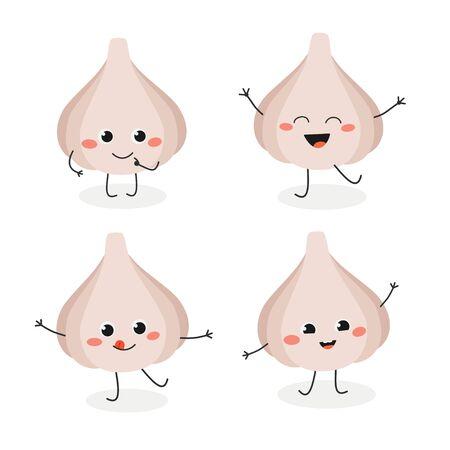 Conjunto de mascota de ajo de dibujos animados lindo en estilo plano. Ilustración de vector aislado sobre fondo blanco. Ilustración de vector