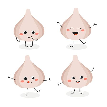 Set of cute cartoon garlic mascot in flat style. Vector illustration isolated on white background Vetores
