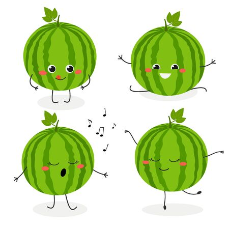 Set with cheerful cartoon watermelon characters. Vector flat illustration isolated on white background
