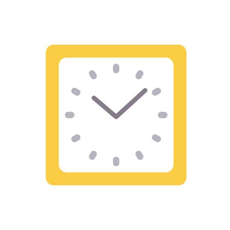 Square shaped clock icon in flat style. Vector illustration isolated on white background