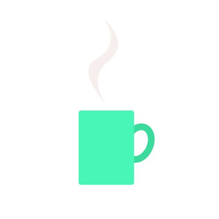 Mug with steam simple icon in flat style. Vector illustration isolated on white background