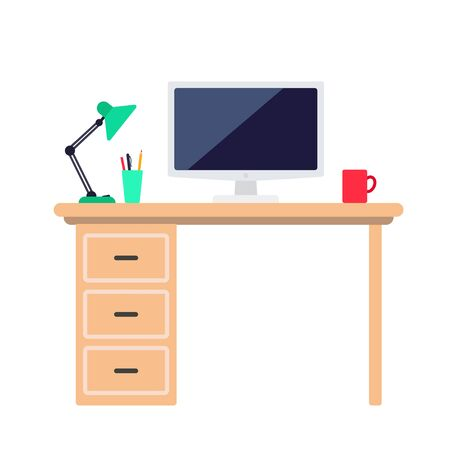 Minimalist workspace with desk, computer monitor, table lamp and coffee cup. Vector illustration isolated on white background