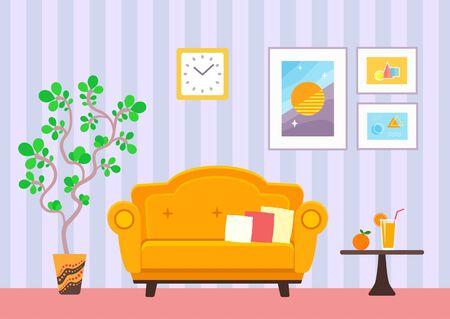Indoor living room interior vector flat illustration