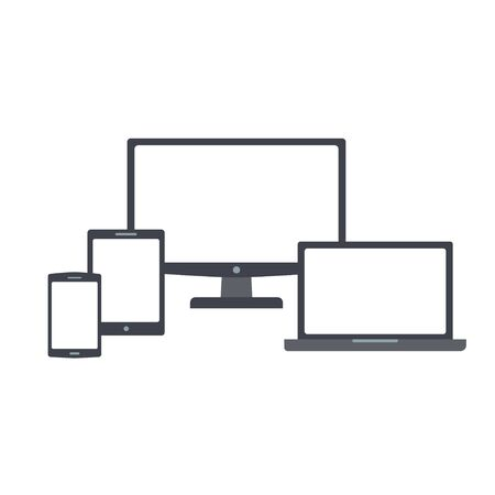 Devices icons with blank screens vector set
