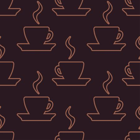 Seamless pattern with coffee cup silhouettes on dark brown background. Vector illustration