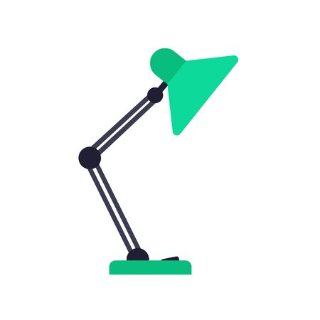 Table lamp icon in flat style. Vector illustration isolated on white background