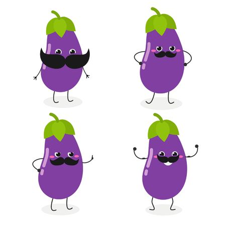 Set with cheerful cartoon mustached eggplant characters. Vector illustration isolated on white background
