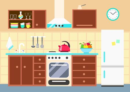 Kitchen interior with stove, fridge, cupboard, dishes and culinary tools decor set. Vector flat illustration