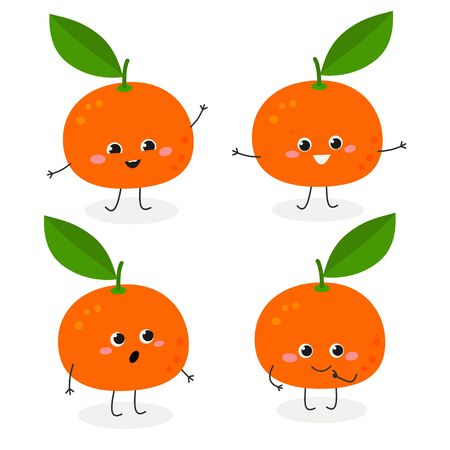 Cheerful cartoon tangerine characters set in flat style. Vector illustration isolated on white background 일러스트