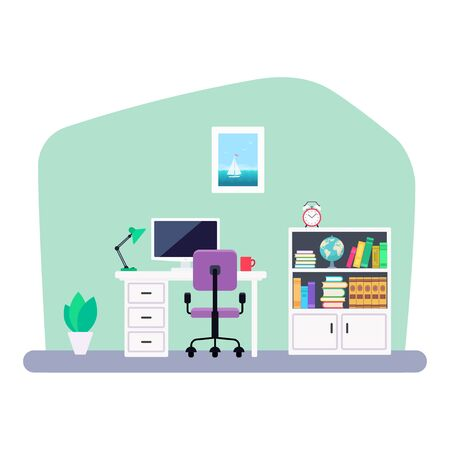Modern workplace interior in flat style. Vector illustration isolated on white background Illustration