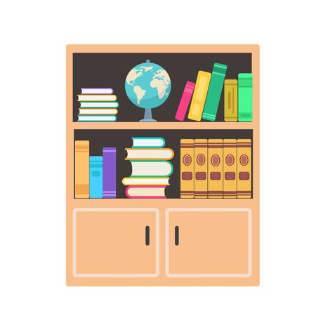 Bookcase with colorful books and globe in flat style. Vector illustration isolated on white background