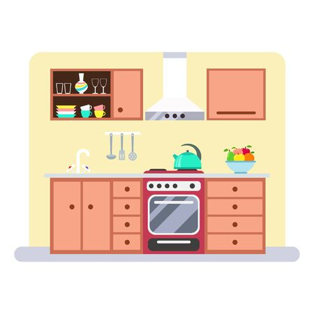 Kitchen interior with furniture and utensils. Vector flat illustration isolated on white background