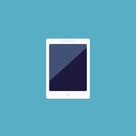 Tablet icon in flat style. Vector illustration isolated on blue background