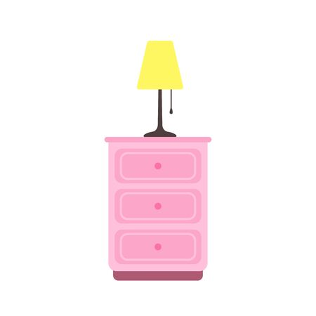 Nightstand with lamp in flat style. Vector illustration isolated on white background
