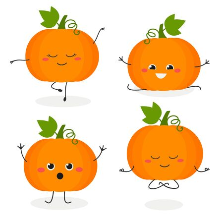 Funny cartoon pumpkin characters set in flat style. Vector illustration isolated on white background