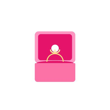 Golden ring with pearl in box icon in flat style. Vector illustration isolated on white background