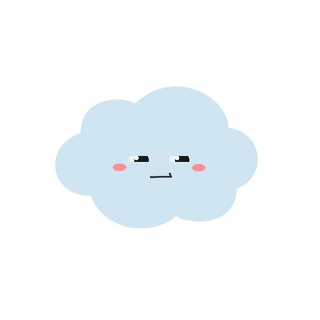 Cute suspicious cartoon cloud character. Vector flat illustration isolated on white background