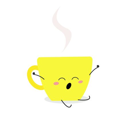 Cute cup cartoon character yawning and stretching Good morning. Vector flat illustration isolated on white background