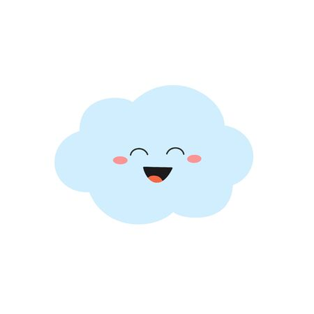 Laughing cartoon cloud character in flat style