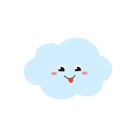 Cheerful cartoon cloud character in flat style