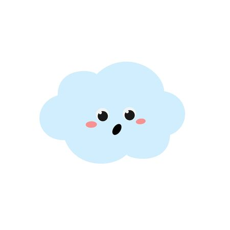 Surprised cartoon cloud character in flat style Çizim