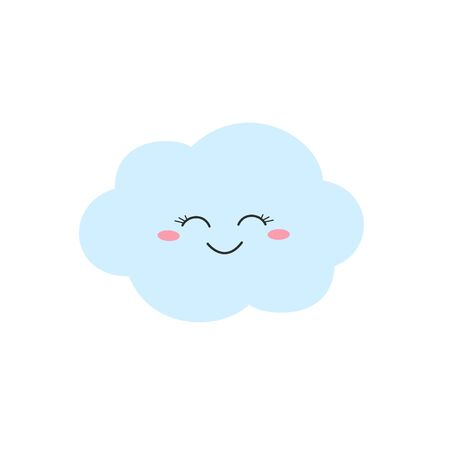Happy cartoon cloud character in flat style