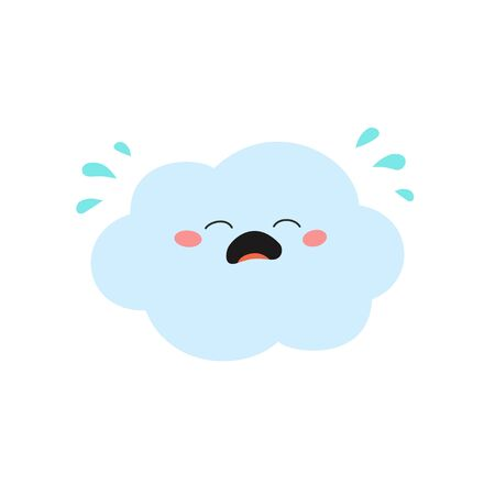 Cute cartoon cloud character crying out rainy. Vector flat illustration isolated on white background Ilustração