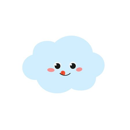 Cheerful cartoon cloud smiley sticking out tongue. Vector flat illustration isolated on white background