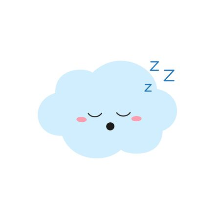 Funny sleeping cartoon cloud character in flat style. Vector illustration isolated on white background 일러스트