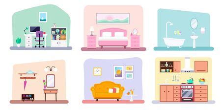 Vector set of different rooms minimalist design