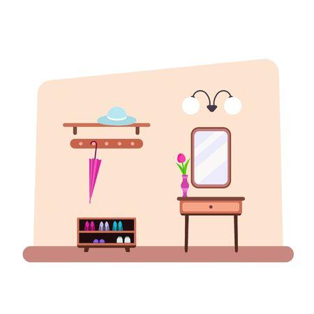 Hallway interior in flat style vector illustration