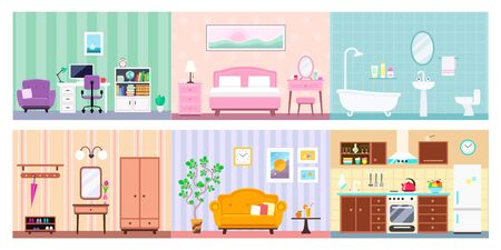 Vector set of different house rooms interior