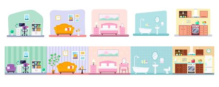 Collection of indoor house rooms interior design: kitchen, bathroom, living room, workplace, bedroom. Vector flat illustration isolated on white background Illusztráció