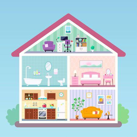 Casa moderna interior interior en corte. Habitaciones con muebles: cocina, baño, sala, buhardilla con puesto de trabajo, dormitorio. Ilustración vectorial plana