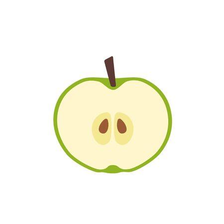Green apple in cut icon flat design