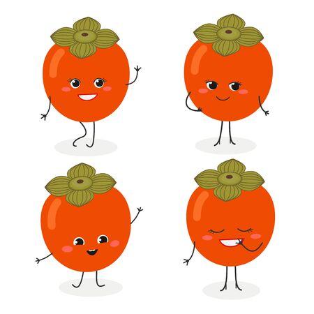 Persimmon cartoon character emoticon set vector illustration Illusztráció