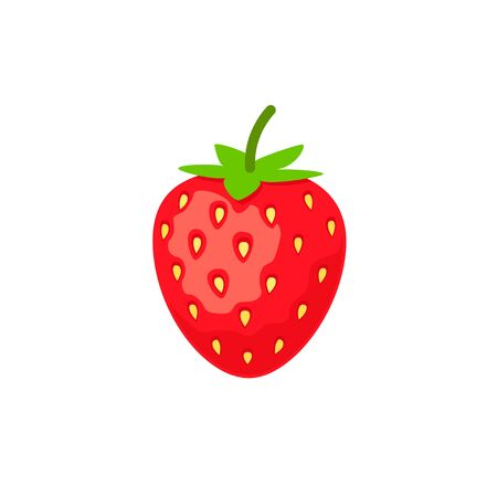 Strawberry icon in flat style vector illustration