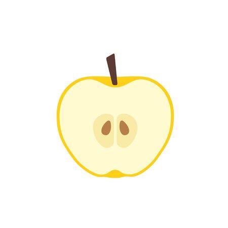 Yellow apple in cut icon flat design