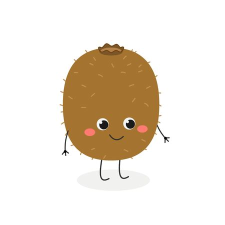 Cute funny cartoon kiwi character. Vector flat illustration isolated on white background
