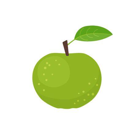 Green apple icon flat design vector illustration