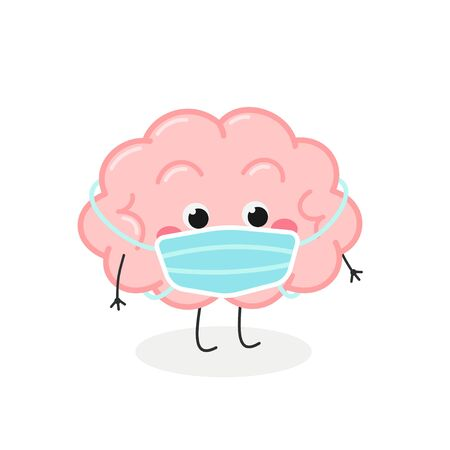 Cute cartoon brain character wearing face mask