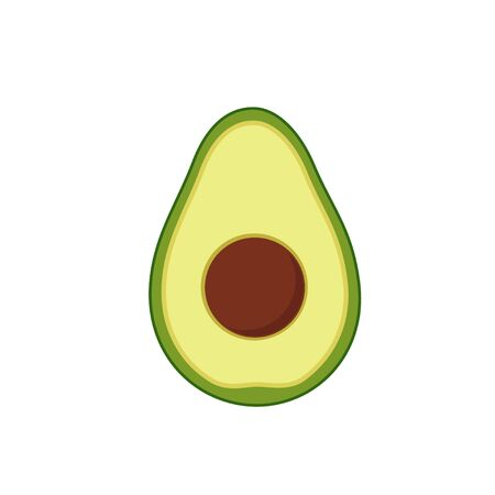 Avocado in cut with pit flat design