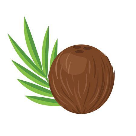 Coconut with leaf flat design vector illustration