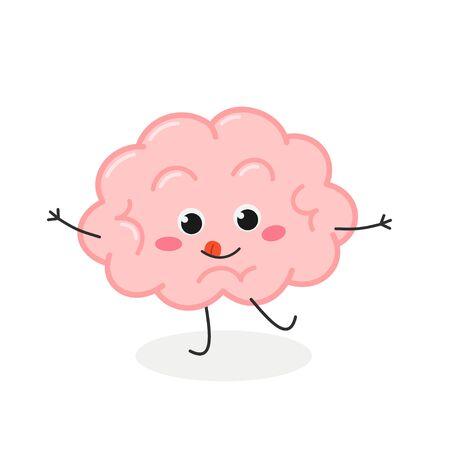 Funny mischievous cartoon brain character vector illustration Stock fotó