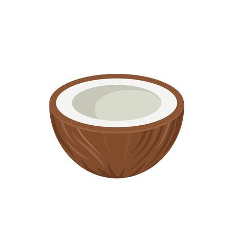 Half coconut icon flat design vector illustration Stock fotó