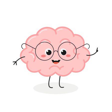 Cute nerd brain cartoon character in glasses