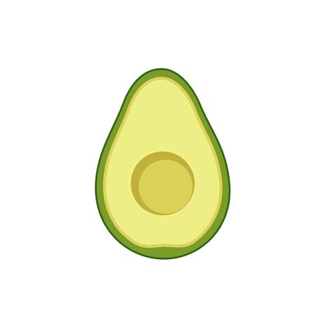 Avocado in cut without bone flat design